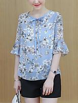 Недорогие -женская рубашка - цветочная шея