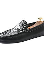 cheap -Men's Shoes Synthetic Microfiber PU Spring / Fall Light Soles / Moccasin Loafers & Slip-Ons White / Black