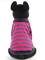 baratos -Cachorros / Gatos / Animais de Estimação Camiseta Roupas para Cães Listrado / Estampa Colorida / Simples Fúcsia / Vermelho Algodão /