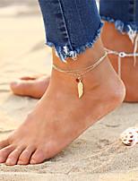 abordables -Bracelet de cheville - Femme Or / Argent Bohème / Multicouches / Mode Forme de Cercle / Ailes / Plume Bracelet de cheville Pour Cadeau /