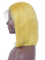 cheap -Remy Human Hair Lace Front Wig Peruvian Hair Straight Bob Haircut 130% Density With Baby Hair / Soft / Silky Blonde Short Women's Human