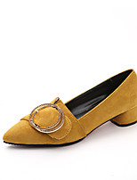 cheap -Women's Shoes Suede Spring & Summer Comfort Heels Block Heel Pointed Toe Black / Yellow / Brown