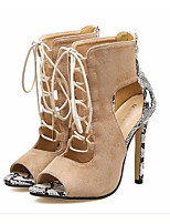 cheap -Women's Shoes Nubuck leather Spring Summer Comfort Boots Stiletto Heel for Casual Almond
