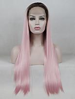 Недорогие -Синтетические кружевные передние парики / Омбре Прямой Средняя часть 130% Человека Плотность волос Искусственные волосы Градиент /