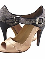 cheap -Women's Latin Shoes PU Heel Performance / Practice Stiletto Heel Dance Shoes Almond
