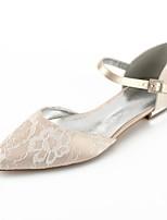 preiswerte -Damen Schuhe Spitze Sommer Komfort / D'Orsay und Zweiteiler Hochzeit Schuhe Flacher Absatz Spitze Zehe Band-Bindung Silber / Champagner /