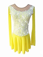 abordables -Robe de Patinage Artistique Fille Patinage Robes Jaune strenchy Professionnel Tenue de Patinage Paillette Manches Longues Patinage