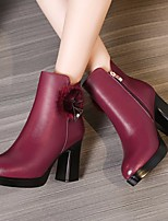 cheap -Women's Shoes Leather Fall & Winter Combat Boots Boots Chunky Heel Mid-Calf Boots Black / Burgundy