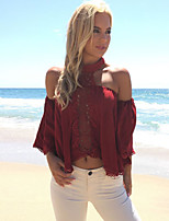 cheap -Women's Blouse - Solid Colored Lace / Cut Out
