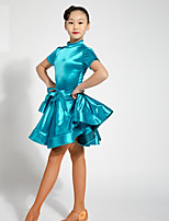 cheap -Latin Dance Dresses Girls' Performance Spandex Sash / Ribbon Ruching Short Sleeves Dress