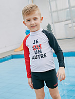 cheap -SABOLAY Boys' Rash Guard Dive Skin Suit Quick Dry, UPF50+, Sun Protection Polyester / Spandex / Chinlon Short Sleeve Swimwear Beach Wear Swimwear Swimming / Diving / Snorkeling / Stretchy