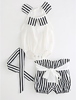 cheap -Toddler Girls' Solid Colored Striped Sleeveless Clothing Set