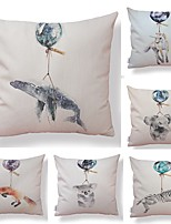 cheap -6 pcs Textile / Cotton / Linen Pillow case, Art Deco / Printing / Animal Simple / Square Shaped