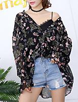 Недорогие -Жен. На выход Блуза V-образный вырез Цветочный принт