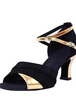 preiswerte -Damen Schuhe für den lateinamerikanischen Tanz Samt / Kunstleder Sandalen Kubanischer Absatz Maßfertigung Tanzschuhe Schwarz und Gold /