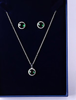 cheap -Women's Cubic Zirconia Jewelry Set - Simple, Fashion Include Drop Earrings / Pendant Necklace Green For Wedding / Gift