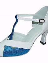 cheap -Women's Latin Shoes Paillette Heel Performance / Practice Stiletto Heel Dance Shoes Blue