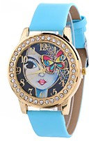 cheap -Women's Wrist Watch Chinese Creative / Casual Watch / Large Dial PU Band Casual / Butterfly Black / White / Blue