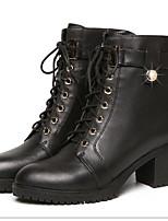 Недорогие -Жен. Обувь Искусственное волокно Весна Удобная обувь Ботинки На толстом каблуке для Черный