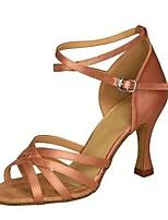 cheap -Women's Latin Shoes Flocking / Silk Heel Flared Heel Customizable Dance Shoes Coffee / Almond / Dark Brown / Leather / Practice