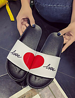 cheap -Women's Shoes PU Summer Comfort Slippers & Flip-Flops Flat Heel Round Toe for Casual White Black Black / White Black / Red