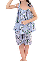 cheap -Kids Toddler Girls' Floral Short Sleeves Clothing Set