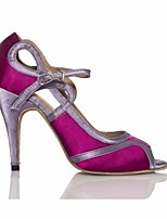 cheap -Women's Latin Shoes Silk Heel Performance / Practice Stiletto Heel Dance Shoes Purple