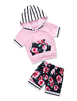 cheap -Toddler Girls' Striped Floral Short Sleeve Clothing Set