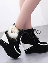 cheap -Women's Shoes Nubuck leather Fall & Winter Comfort Boots Wedge Heel White / Black / Red