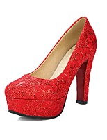 cheap -Women's Shoes Flocking Spring & Summer Basic Pump Heels Chunky Heel Round Toe Gold / White / Red / Wedding / Party & Evening
