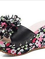 preiswerte -Damen Schuhe PU Sommer Komfort Slippers & Flip-Flops Keilabsatz für Normal Schwarz Orange Hellblau