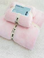 abordables -Qualité supérieure Ensemble de serviette de bain, Couleur Pleine 100 % Polyester 2 pcs
