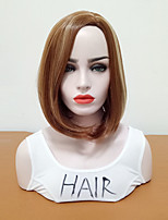 cheap -Synthetic Wig Straight Bob Haircut / Side Part Synthetic Hair Women / Highlighted / Balayage Hair Brown Wig Women's Mid Length Natural