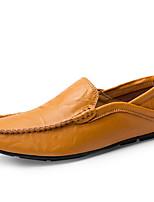 Недорогие -Муж. обувь Кожа Весна Мокасины Мокасины и Свитер Черный / Желтый / Синий