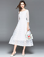 cheap -SHIHUATANG Women's Street chic / Sophisticated A Line / Swing Dress - Solid Colored Lace / Embroidered
