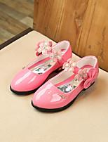 preiswerte -Mädchen Schuhe PU Sommer Schuhe für das Blumenmädchen Flache Schuhe Strass Blume für Geburtstag Party & Festivität Schwarz Pfirsich Rosa