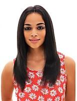 Недорогие -Не подвергавшиеся окрашиванию 360 Лобовой Парик Бразильские волосы Прямой Средняя часть 150% плотность С детскими волосами / Женский /