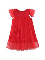 cheap -Kids / Toddler Girls' Solid Colored Short Sleeve Dress