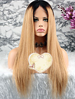 cheap -Remy Human Hair Wig Brazilian Hair Straight Layered Haircut 130% Density With Baby Hair / 100% Virgin Blonde Short / Long / Mid Length