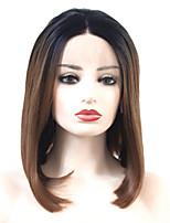 economico -Parrucche Lace Front Sintetiche Liscio Parte di mezzo 150% Densità dei capelli umani Capelli sintetici Resistente al calore / Da donna / Colori sfumati Marrone Parrucca Per donna Corto Lace frontale