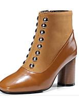 baratos -Mulheres Sapatos Pele Nobuck / Couro Ecológico Outono Botas da Moda Botas Salto Robusto Ponta quadrada Botas Curtas / Ankle Tachas Preto