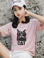 cheap -Women's Basic T-shirt - Solid Colored Cat, Sequins / Print