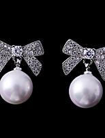 cheap -Women's Cubic Zirconia Stud Earrings - Bowknot Fashion, Elegant White For Wedding / Date