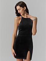 preiswerte -Eng anliegend Schmuck Kurz / Mini Polyester-Baumwoll-Gemische Cocktailparty / Abiball Kleid mit Vorne geschlitzt durch TS Couture®