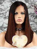 Недорогие -Remy Парик Бразильские волосы Прямой Стрижка каскад 130% плотность С детскими волосами / 100% девственница Коричневый Короткие Жен.
