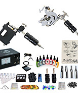 abordables -Machine à tatouer Kit pour débutant - 2 pcs Machines de tatouage avec 7 x 15 ml encres de tatouage, Professionnel, Kits LCD alimentation Case Not Included 2 Machine à tatouage x alliage pour la