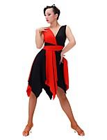 abordables -Danse latine Robes Femme Entraînement Chinlon / Fibre de Lait Combinaison Sans Manches Robe