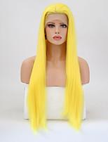 Недорогие -Синтетические кружевные передние парики Прямой Стрижка каскад Искусственные волосы Природные волосы Блондинка Парик Жен. Длинные Парик из