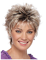 cheap -Ombre Straight Pixie Cut Synthetic Hair Natural Hairline Golden / Burgundy Wig Women's Short Natural Wigs / Celebrity Wig Capless / Yes