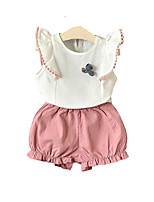 cheap -Kids Girls' Solid Colored Sleeveless Clothing Set
